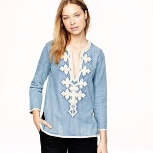 JCREW Soutache Embellished Chambray Tunic/Top